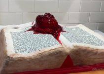 Beating heart cake Edgar Allan Poe book cake The Tell-Tale Heart