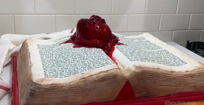 Beating heart cake Edgar Allan Poe book cake The Tell-Tale Heart