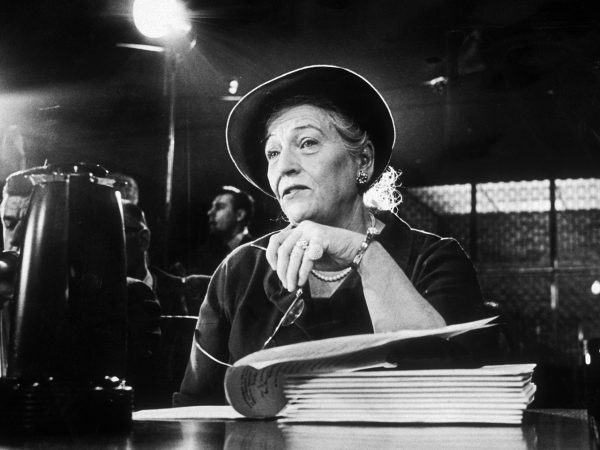6th December 1962: American author Pearl S. Buck testifies before the Senate subcommittee on new uses for Ellis Island, New York City, in Washington, D.C. (Photo by Neal Boenzi/New York Times Co./Getty Images)