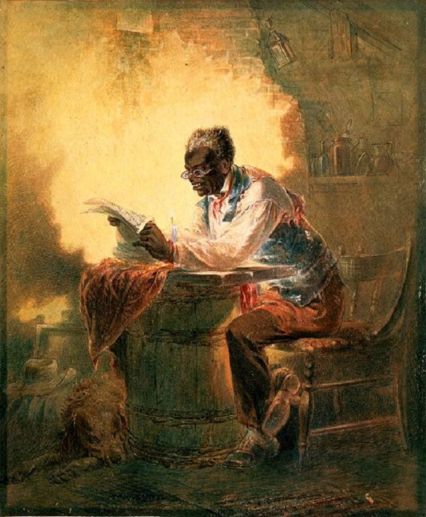 Black Man Reading Newspaper by Candlelight
