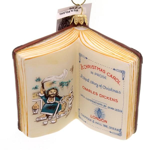 Vaillancourt CHARLES DICKENS BOOK ORNAMENT Glass Christmas Carol