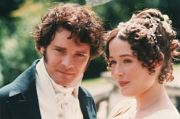 "Description=Colin Firth and Jennifer Ehle as Mr Darcy and Elizabeth Bennet in a dramatisation of Jane Austen's ""Pride & Prejudice"" for the BBC, pictured at Harrow School, Harrow on the Hill - 28.08.1994. Copyright Alan Weller / The Times."