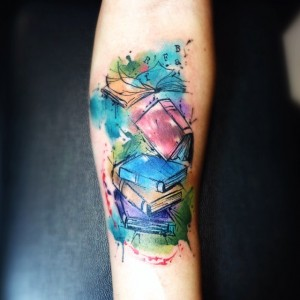 Watercolor-Books-Tattoo-Design-For-Arm-By-Leito