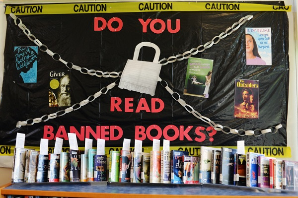 A display made by teens on banned books is presented at the Suisun City Library, Wednesday. The display celebrates Banned Books Week.(Aaron Rosenblatt/Daily Republic)
